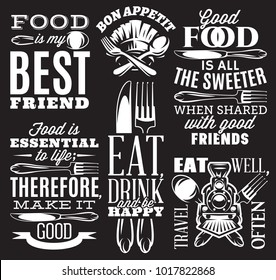 set of vector inscriptions in retro style on theme of eating with cutlery