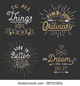 set of vector inspirational lettering for greeting cards prints and posters do all things