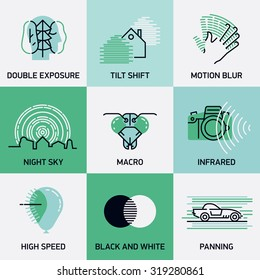 Set of vector inspirational photography techniques and principles web icons in trendy linear flat design | Design elements on double exposure, tilt shift, motion blur, infrared and other photo topics