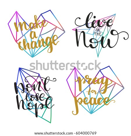 Set Vector Inspirational Quotes Pray Peace Stock Vector Royalty