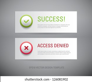 A set of vector interface dialog / notification message boxes - success, access denied, with plastic round icons