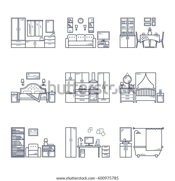 Set of vector interior design rooms in line black and white style. Illustration of living room, hallway, dining room, bedroom, kitchen, nursery, cabinet, workspace, bathroom