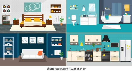 Set of vector interiors with furniture and equipment. Design a living room, kitchen, bathroom, bedroom. Flat style interior, House shape concept design.