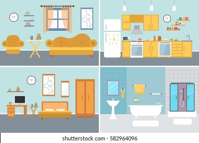 Set of vector interiors with furniture and equipment. Design a living room, kitchen, bathroom, bedroom. Flat style interior concept.