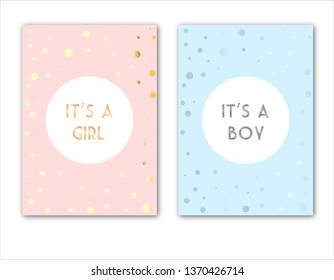 Set of vector invitation with gold and silver lettering for boy or girl. Baby  congratulations posters with lettering. It's a boy, it's s girl or your text. Greeting card