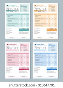 Set of Vector Invoice Design Templates. Green, Orange, Red and Blue Colors