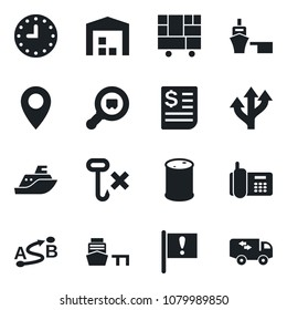 Set of vector isolated black icon - route vector, pin, important flag, office phone, sea shipping, clock, receipt, port, consolidated cargo, no hook, oil barrel, search, warehouse, moving