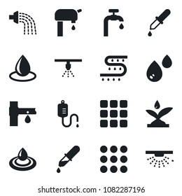 Set of vector isolated black icon - watering vector, water drop, drip irrigation, dropper, menu, supply, sprinkler