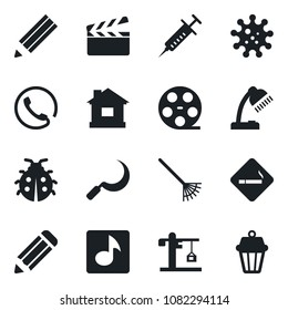 Set of vector isolated black icon - smoking place vector, pencil, rake, lady bug, house, sickle, syringe, virus, clapboard, reel, music, desk lamp, crane, phone, outdoor