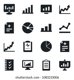 Set of vector isolated black icon - statistic monitor vector, diagnosis, pulse clipboard, statistics, bar graph, pie, checklist, point, growth, presentation