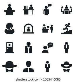 Set of vector isolated black icon - passport control vector, reception, medical room, manager, speaking man, support, speaker, desk, meeting, career ladder, estate agent, waiter, dress code