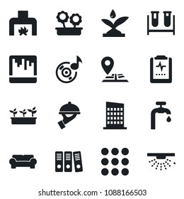 Set of vector isolated black icon - seedling vector, blood test vial, pulse clipboard, navigation, menu, scanner, music, paper binder, water supply, cushioned furniture, fireplace, flower in pot