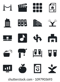 Set of vector isolated black icon - fence vector, statistic monitor, document reload, blood test vial, route, railroad, clapboard, menu, music, paper binder, water supply, estate, office building