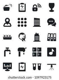 Set of vector isolated black icon - plane globe vector, checkroom, statistic monitor, seedling, blood test vial, pulse clipboard, navigation, fragile, dialog, menu, music, paper binder, water supply