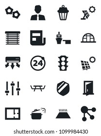 Set of vector isolated black icon - 24 around vector, gear, greenhouse, picnic table, traffic light, sea port, shield, tuning, news, sun panel, plan, estate agent, steaming pan, air conditioner