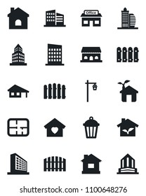 Set of vector isolated black icon - office building vector, fence, house, garden light, store, with garage, plan, sweet home, city, cafe, eco