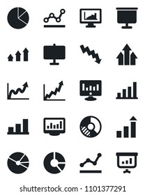 Set of vector isolated black icon - growth statistic vector, crisis graph, monitor, circle chart, statistics, presentation board, bar, pie, point, arrow up
