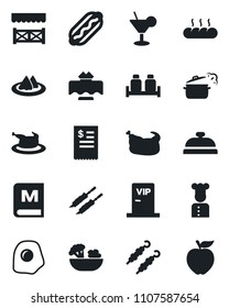 Set of vector isolated black icon - cook vector, restaurant table, serviette, menu, reception, cocktail, salad, salt and pepper, bread, vip zone, alcove, receipt, chicken, kebab, hot dog, omelette
