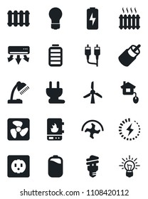 Set of vector isolated black icon - bulb vector, ripper, battery, rca, charge, desk lamp, heater, home control, socket, power plug, fan, water, air conditioner, radiator, energy saving, windmill