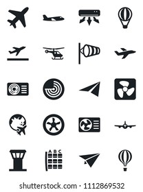 Set of vector isolated black icon - plane vector, airport tower, departure, wind, radar, helicopter, seat map, globe, air conditioner, fan, paper, balloon