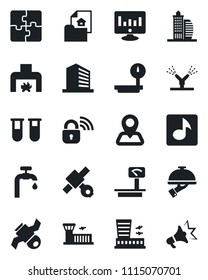 Set of vector isolated black icon - airport building vector, office, statistic monitor, blood test vial, navigation, satellite, heavy scales, music, application, water supply, estate document