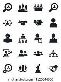 Set of vector isolated black icon - handshake vector, hierarchy, pedestal, patient, group, user, hr, meeting, company, client search, consumer