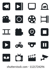 Set of vector isolated black icon - ticket office vector, clapboard, film frame, reel, tv, gamepad, video camera, play button, pause, stop, rewind, record, web, surveillance