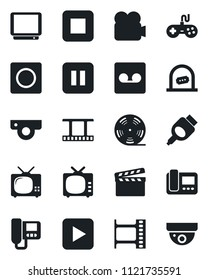 Set of vector isolated black icon - ticket office vector, clapboard, film frame, reel, tv, gamepad, video camera, play button, pause, stop, hdmi, record, web, intercome, surveillance