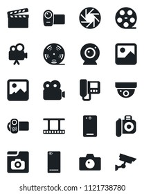 Set of vector isolated black icon - camera vector, clapboard, film frame, reel, video, phone back, mobile, gallery, photo, web, intercome, surveillance