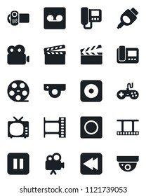 Set of vector isolated black icon - clapboard vector, film frame, reel, tv, gamepad, video camera, pause button, rewind, rec, hdmi, record, web, intercome, surveillance