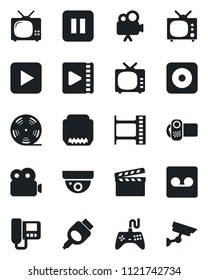 Set of vector isolated black icon - clapboard vector, film frame, reel, tv, gamepad, video camera, play button, pause, rec, hdmi, record, intercome, surveillance
