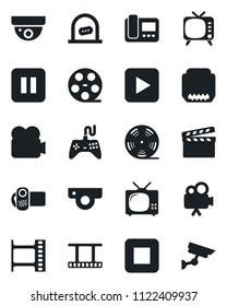 Set of vector isolated black icon - ticket office vector, clapboard, film frame, reel, tv, gamepad, video camera, play button, pause, stop, hdmi, web, intercome, surveillance