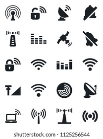 Set of vector isolated black icon - antenna vector, wireless notebook, radar, satellite, equalizer, mute, cellular signal, lock