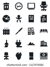 Set of vector isolated black icon - no smoking vector, waiting area, baby, office chair, binder, diagnosis, scalpel, real heart, tv, themes, pie graph, mountains, building, heater, fridge, trash bin