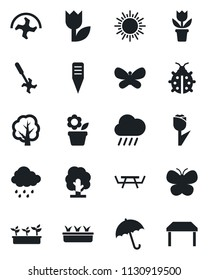 Set of vector isolated black icon - umbrella vector, sun, flower in pot, ripper, tree, butterfly, lady bug, seedling, rain, plant label, picnic table, tulip