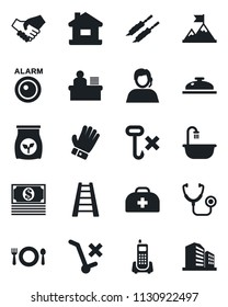 Set of vector isolated black icon - ladder vector, glove, fertilizer, doctor case, stethoscope, office phone, support, no trolley, hook, manager desk, house, bathroom, cafe, reception, kebab, cash