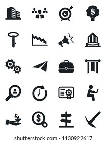 Set of vector isolated black icon - target vector, consumer search, group, gear, palm sproute, clock, pennon, crisis, money, case, paper plane, certificate, advertising, man with notebook, tie, tree