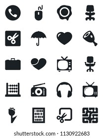 Set of vector isolated black icon - phone vector, tv, office chair, case, abacus, mouse, stamp, umbrella, tulip, radio, headphones, heart, cut, ham, chip