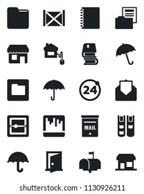 Set of vector isolated black icon - 24 around vector, umbrella, container, mail, scanner, folder, copybook, document, book, mailbox, home control, door, storefront