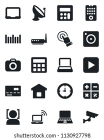 Set of vector isolated black icon - credit card vector, wireless notebook, calculator, pc, clock, barcode, satellite antenna, camera, touch screen, play button, mobile, face id, smart home, router