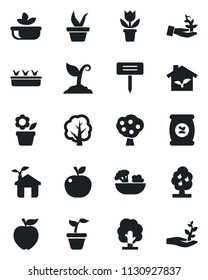 Set of vector isolated black icon - flower in pot vector, seedling, tree, sproute, plant label, fertilizer, fruit, salad, apple, eco house, palm