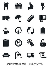 Set of vector isolated black icon - spoon and fork vector, umbrella, waiting area, shower, notepad, calendar, tree, stomach, caries, tulip, touch screen, finger down, low battery, update, coffee, pc