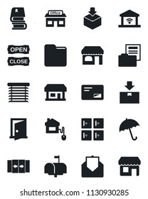 Set of vector isolated black icon - automatic door vector, umbrella, shop, checkroom, store, package, mail, folder, document, book, mailbox, open close, home control, jalousie, garage gate