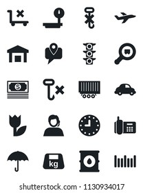 Set of vector isolated black icon - plane vector, cash, traffic light, office phone, support, mobile tracking, truck trailer, car delivery, clock, umbrella, no trolley, hook, tulip, warehouse, heavy