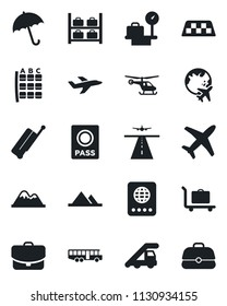 Set of vector isolated black icon - runway vector, taxi, suitcase, baggage trolley, airport bus, umbrella, passport, ladder car, helicopter, seat map, luggage storage, scales, plane globe, mountains