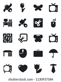 Set of vector isolated black icon - case vector, mouse, desk, butterfly, satellite, umbrella, tulip, tv, heart, cut, chip, tie