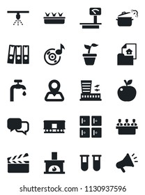 Set of vector isolated black icon - airport building vector, checkroom, seedling, blood test vial, navigation, heavy scales, railroad, clapboard, dialog, music, paper binder, meeting, water supply