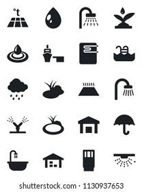 Set of vector isolated black icon - shower vector, water drop, rain, pond, sea port, umbrella, warehouse, pool, bathroom, drink, irrigation, heater, warm floor, sprinkler