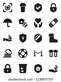 Set of vector isolated black icon - fence vector, trash bin, lock, boot, hose, patch, heart hand, umbrella, shield, protect, eye id, estate insurance, water filter, palm sproute, crisis management