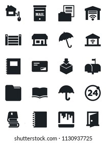 Set of vector isolated black icon - 24 around vector, umbrella, book, store, container, package, mail, scanner, folder, copybook, document, mailbox, home control, garage gate, door
